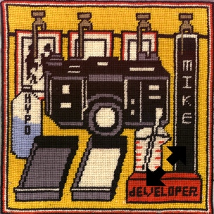 Darkroom-themed needlepoint featuring a camera, film strips and developing trays